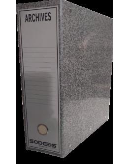 BOITE ARCHIVE PLASTIFIE DOS DE 10 GRIS - SODEBS