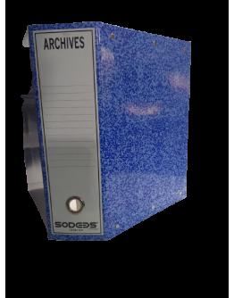 Boîte d'archive en carton Marbrée  plastifie bleu dos de 10 Cm